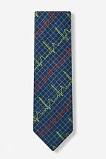 Men's Microfiber Blue Doctor Heart Beats EKG Screen Medical Necktie Tie Neckwear