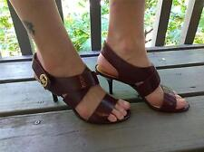 Michael Kors MK Plate Leather Maroon Joselle Open Toe Sandles Size 8 8M Shoes