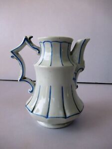 """Antique German Porcelain Milk Pot Jug Pitcher White Blue Line Decorative Rare """"F"""