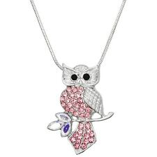 "Pink Owl Charm Pendant Fashionable Necklace - Sparkling Crystal - 17"" Chain"