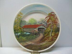 "Hand Painted Folk Art Plate ""Ohio Covered Bridge"" Signed D. Clemons '82'"