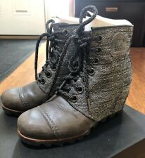 SOREL PDX Wedge Quarry Gray Leather Waterproof Boots 6.5 37.5