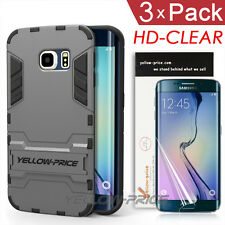 Armor Hybrid Case Military 2 in 1 Stand Cover For Samsung Galaxy S6 Edge + Film