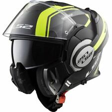 LS2 FF399 Valiant Line Flip Over Flip Front Motorcycle Helmet Matt Black Yellow