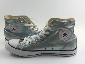 Converse Hi top Metallic silver shoes MENS 9/WOMENS 11