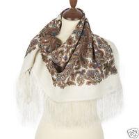 WOMEN'S PAVLOVO POSAD SHAWL RUSSIAN 100%WOOL SCARF WRAP CAPE 89x89cm silk fringe