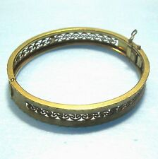 Hinged bracelet open-work 12KTGF signed A.C. goldfilled filled gold B50