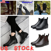 Womens Waterproof Ankle Boots Ladies Wellies Wellington Chelsea Rain Shoes Size
