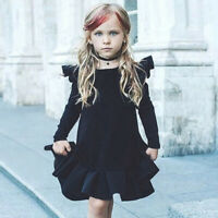 Fashion Toddler Baby Girl Long Sleeve Ruffles Dress Solid Princess Clothes Dress