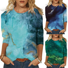 Womens Ladies Casual Loose T-Shirt Blouse Tee Summer 3/4 Sleeve Tops Tee Shirt