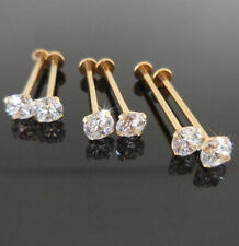 2-16g 14-19mm CHEEK PIERCING STUD Gold Tone Dimple Maker 3 or 5mm CZ Prong Set