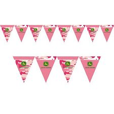 12ft John Deere Pink Camo Farm Tractor Party Decoration Pennant Flag Banner