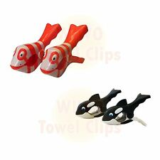 WIWO 2 Pairs of Towel Clips - Red Fish & Whale