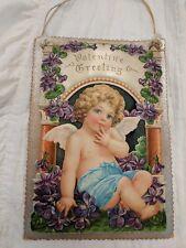 Vintage Valentines day Card- Girl Victorian purple flowers 3D