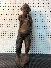 """Vintage African Sculpture Hand Carved Wooden Man With Pipe 21"""""""
