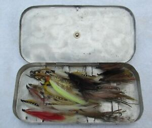 Vintage Scovill MFG. Co. Aluminum  Fly Fishing Box with Many Flies