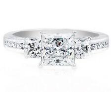 2 carat GIA Certified Princess Diamond Engagement Three Stone Ladies Ring 18k...
