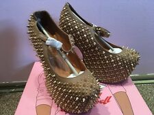 Jeffrey Campbell Prickly Wedge Taupe Gold Leather BNIB 37/4