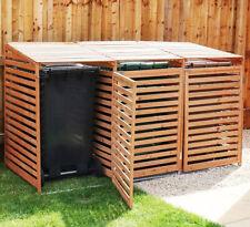 Triple Wheelie Bin Storage Wooden Store Cover Garden Rubbish Dustbin 3 Shed