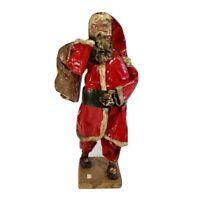 """Paper Mache Santa 14"""" T Mexico Folk Art Belsnickle Christmas Vintage"""