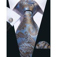 Herren Krawatte Blau Gold Seidenkrawatte Einstecktuch Manschettenknöpfe Set Tie
