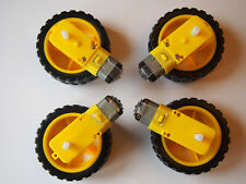 4 SETS Robot Wheel and Dual Axle Motor DC 3-6V Arduino/Raspberry Pi Smart Car UK