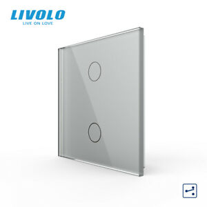Livolo UK standard Light Touch Wall Switch LED Back-light ,2 Gang 2 Way Grey