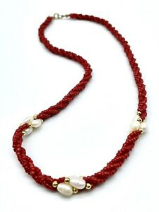 Vintage Artisan Authentic Red Coral & Freshwater Pearls 14KT GF Clasp Necklace