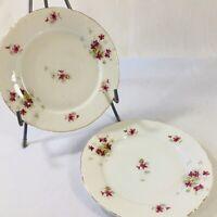 "Antique 1900's Victoria Carlsbad Austria Porcelain Pink Flowers Dessert Plate 7"""