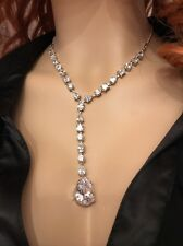 "Jon Richard Diamante Teardrop Necklace 16"" Brand New in Box"