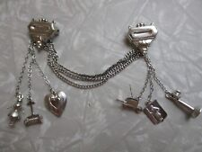 Vintage Silver tone brooch charms dangle double brooch statement costume jewelry