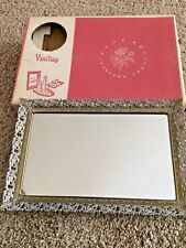 Vanity Mirror Metal Filigree Perfume Tray MCM Made USA NEW OLD STOCK Pre 1963