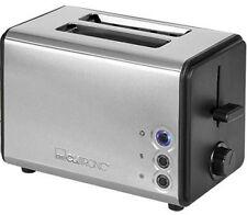 Clatronic Toaster Boîtier en acier inoxydable noir inox avec Réchauffe-pain