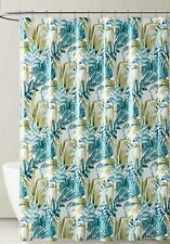 Teal White Gold Tropical Leaf  PEVA Shower Curtain Liner Odorless, PVC Free