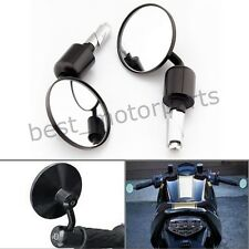 """MOTORCYCLE ALUMINUM BLACK ROUND CNC REAR VIEW HANDLE BAR END 7/8"""" SIDE MIRRORS"""