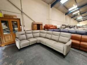 Ex-display Famous Brand Designer grey leather electric recliner corner sofa