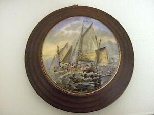 Vintage Framed Fishing Boats Pot Lid