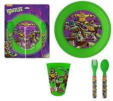 Turtles Kinder Geschirr Set  mit Teller Becher Gabel Löffel Lunchset TMNT