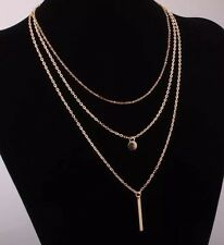 New Stunning gold toned multi layer metal strip necklace