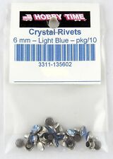 Synthetic Crystal Rivets (6mm) - Light Blue - Pkg/10