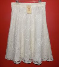 NWT Lace skirt 10 Ivory Flared Off white Midi USA Long Dressy Lined Wedding