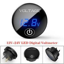 12V-24V LED Digital Voltmeter Car SUV Motorcycle Gauge Volt Meter w/Touch Switch