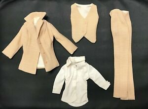 Dressmaker Details Tagged White Blouse and Beige Pantsuit (with Vest) Ensemble