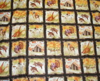 Country Fields autumn deer turkey hunting dogs wildlife blocks Blue Hill fabric