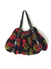 Betsey Johnson black red roses velvet purse women's pocketbook flowers used GUC
