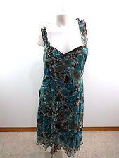 3b19cac186 Dressbarn Mujer Nailon Mezcla Acuarela Marrón   Verde Azulado Vestido Casual