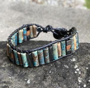 Men's Blue Sky Jasper Beaded Black Leather Cuff Wrap Bracelet NEW