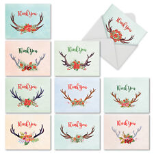 M6720XTB Floral Horns: 10 Assorted Christmas Thank You Note Cards /Envelopes