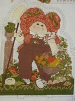 10 Vintage Cabbage Patch Doll Fabric Panel Pillow or Applique Fall Harvest Red