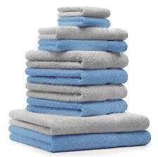 """Lot de 10 serviettes """"Premium"""" bleu clair et gris argenté, 2 serviettes de bain,"""